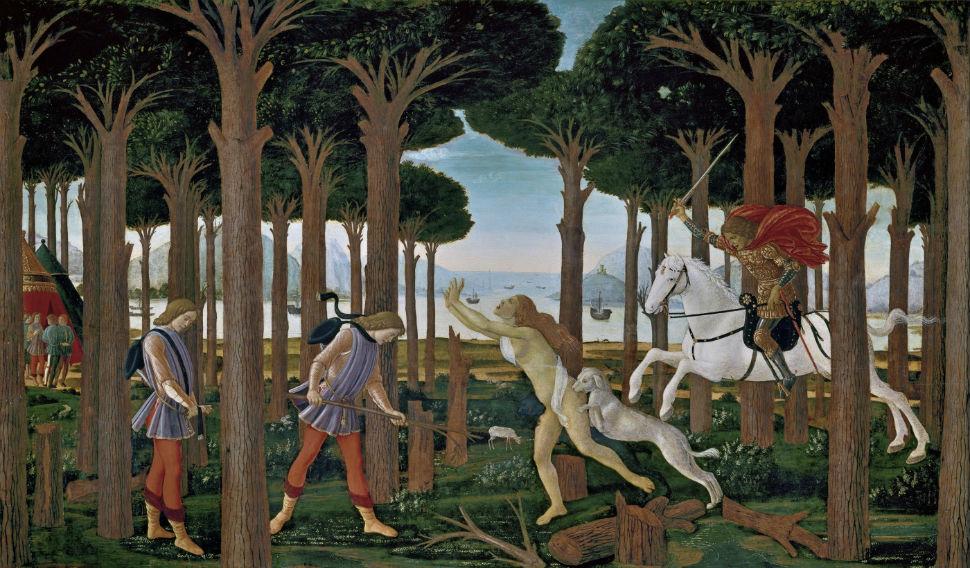 9-Сандро Ботичелли - Сцена из «Новеллы о Настаджо дельи Онести» I - 1483.jpg