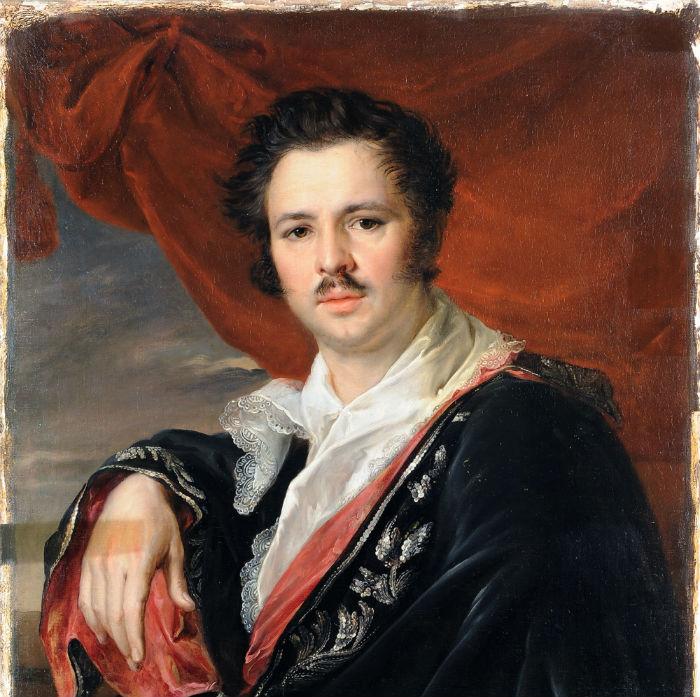Василий Тропинин - Портрет художника Н. А. Майкова (фрагмент - 1821) - после реставрации.jpg