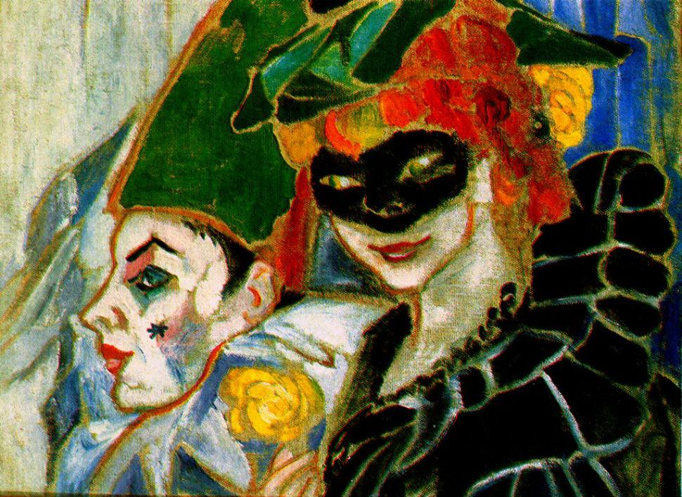 1-Наталья Гончарова - Пьеро и Коломбина (Автопортрет с Михаилом Ларионовым) - 1906.jpg