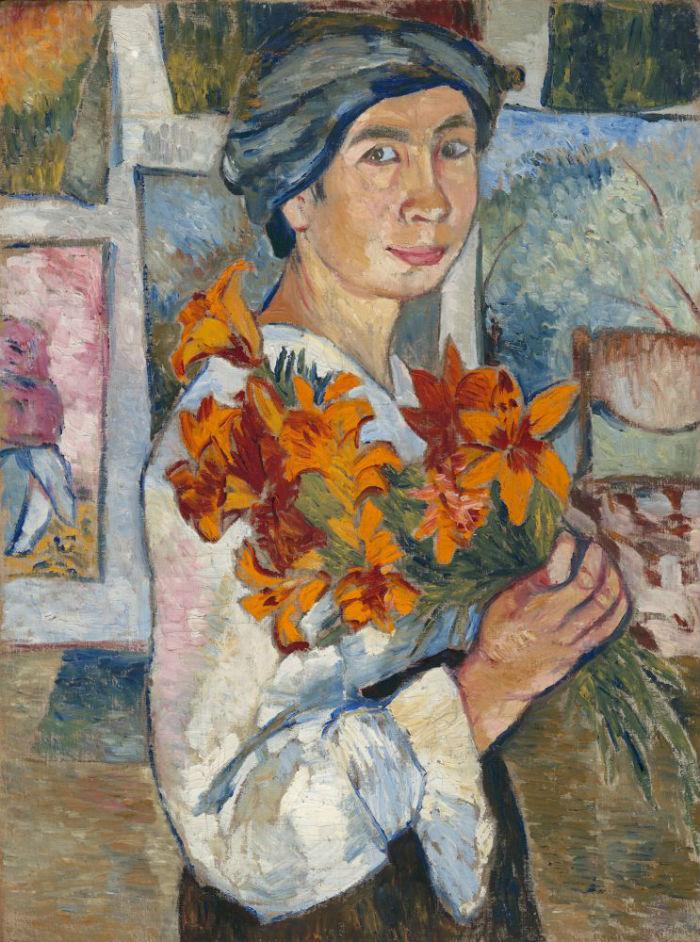 4-Наталья Гончарова - Автопортрет с желтыми лилиями - 1907.jpg