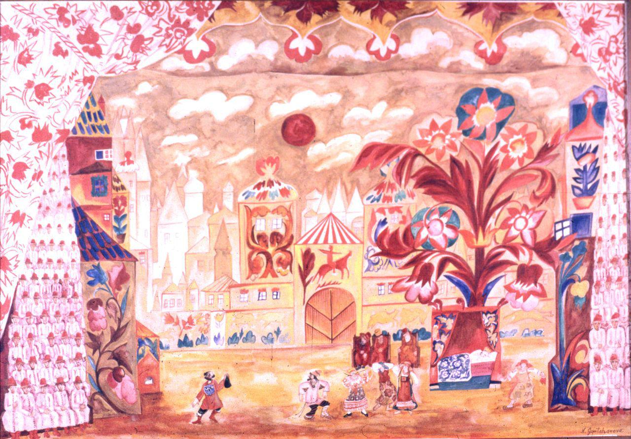 19-Наталья Гончарова - Эскиз декорации к спектаклю Золотой петушок - 1914.jpg
