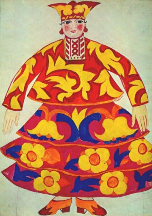 23-Наталья Гончарова - Эскиз костюма для оперы-балета Золотой петушок - 1914.jpg
