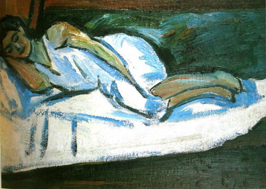 36- Михаил Ларионов - Наталья Гончарова спящая - 1910.jpg