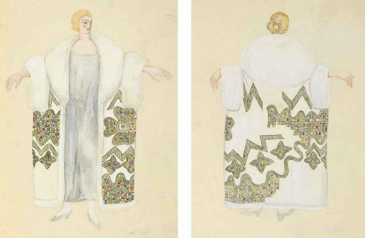 37-Наталья Гончарова - Эскиз отделанного мехом вечернего плаща - 1925.jpg