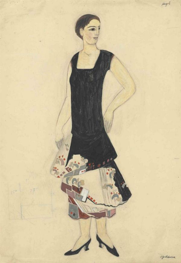 38-Наталья Гончарова - Эскиз платья для дома мод Мырбор - 1927.jpg