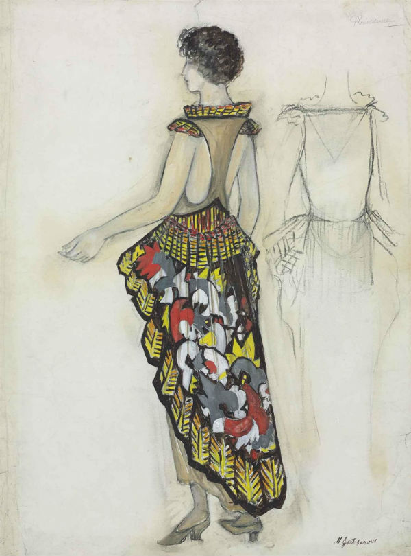39-Наталья Гончарова - Эскиз платья La Phenicienne - 1922.jpg