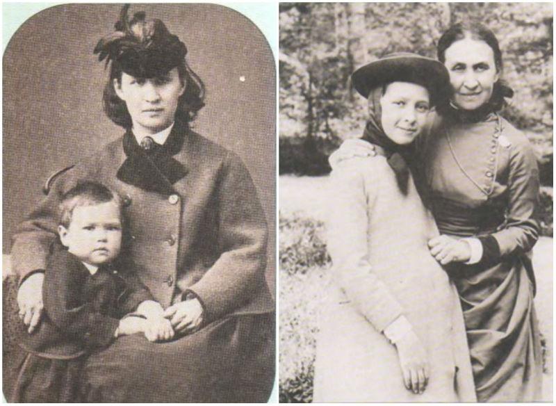 7-Елизавета Мамонтова с сыном Серёжей (слева - конец 1860-х) и с дочерью Верой (начало 1890-х).jpg