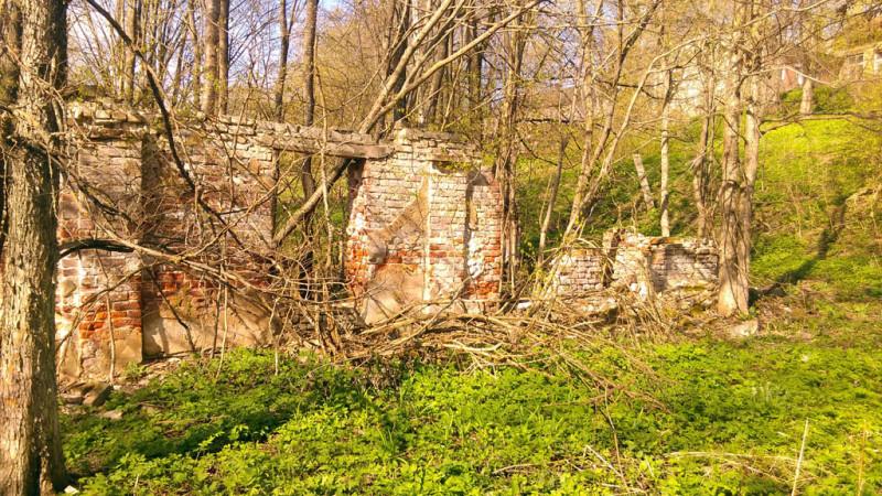 Чуть выше по течению раньше была пристань, ее уже нет. От служебного здание при переправе тоже мало, что осталось...