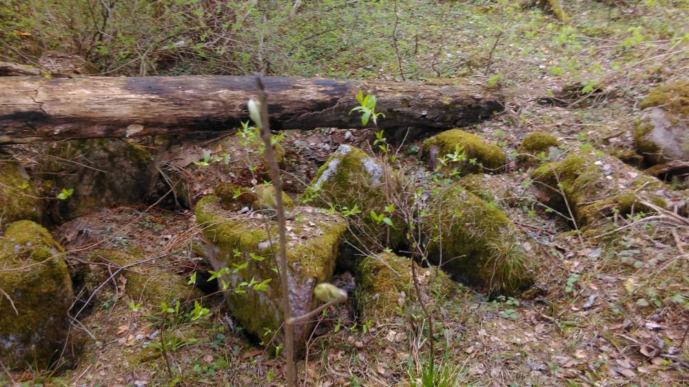 Камни покрыты мхом и травой, но все-равно видно что это не просто куча камней.