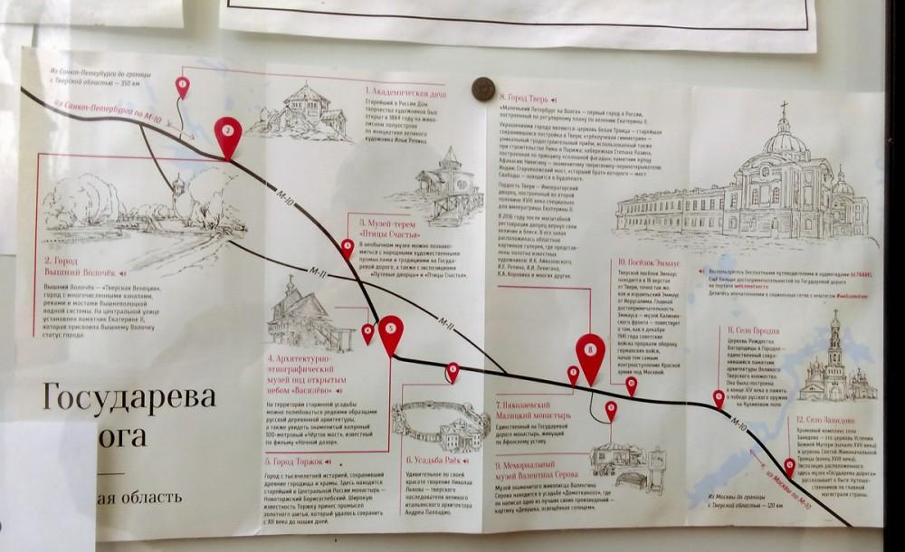 И схема на доске объявлений напротив. Некоторые из указанных на схеме объектов мы посетили в дальнейшем.