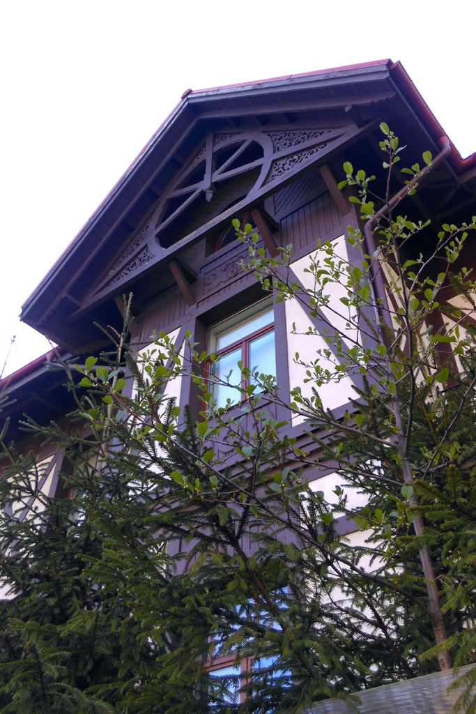 А рядом за высоким забором копия дачи инженера А.А. Шварца. А ныне дача спикера петербургского парламента Вячеслава Макарова.