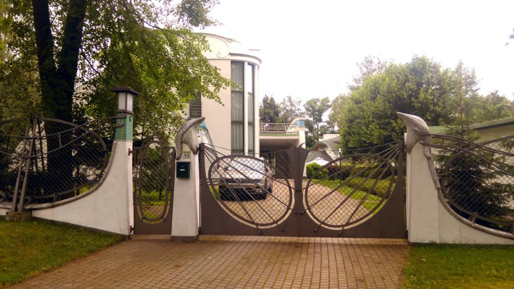 Столбы ворот венчают стилизованные фигурки дельфинов... Что смотрится очень необычно для Ленинграда и его окрестностей. Подобное скорее ожидаешь увидеть, например, в Сочи...