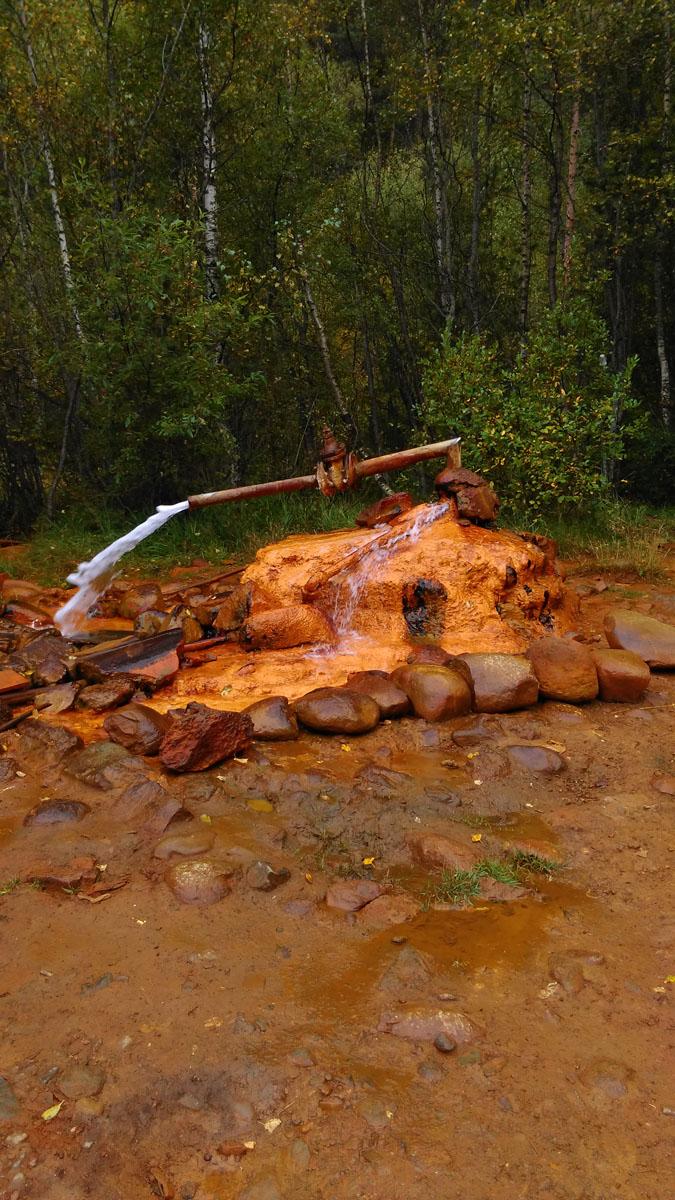 На поляне несколько источников нарзана. Но более всех известна эта труба... Вода из всех источников с повышенным содержанием железа. Вкус соответствующий...