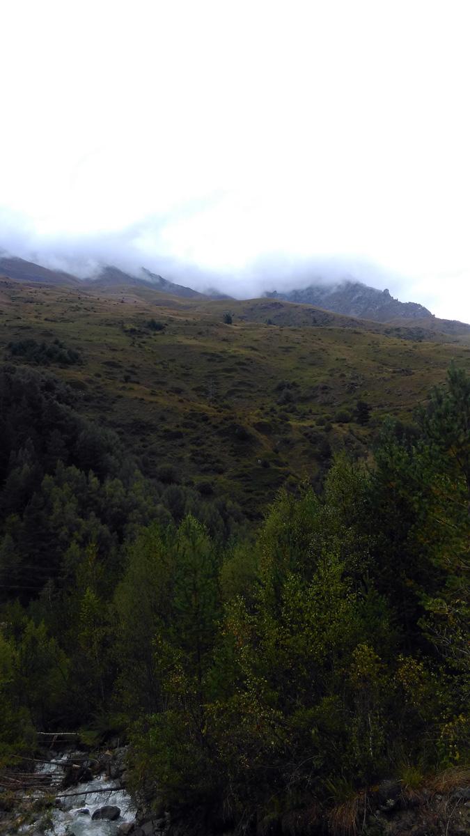 Решили, не смотря на дождь, пройтись на верх по склону горы параллельно речке..
