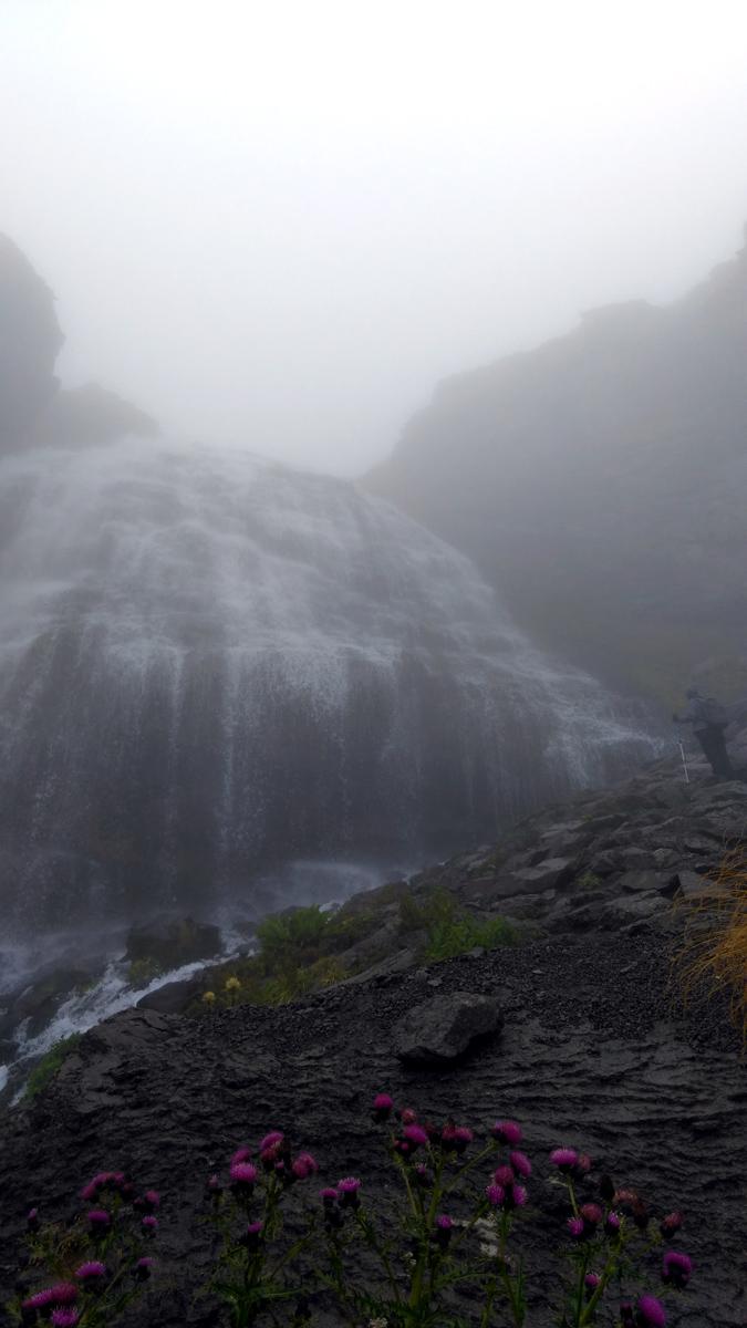 Издали водопад казался маленьким, но вблизи впечатляет! Начинаю фоткать, стараясь, что бы в кадр не попадали многочисленные, не смотря на пасмурную погоду, туристы.