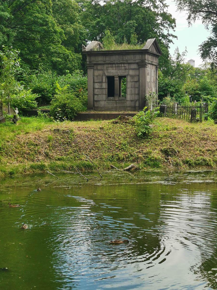 В пруду плещутся утки, на берегах среди зелени склепы и кресты...