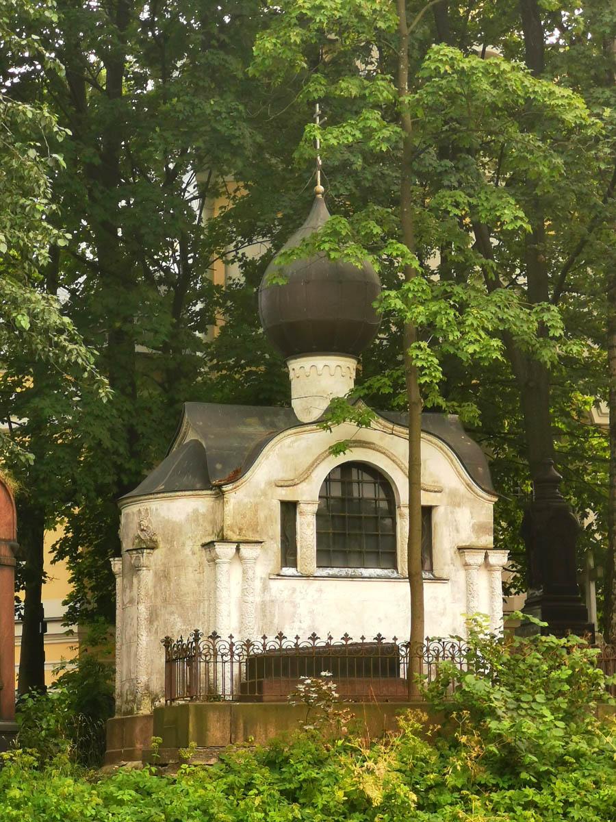Часовня-усыпальница на могиле певицы А.Д. Бискупской-Вяльцевой. Архитектор Л.А. Ильин, скульптор С.Н.Судьбинин, 1915 г.
