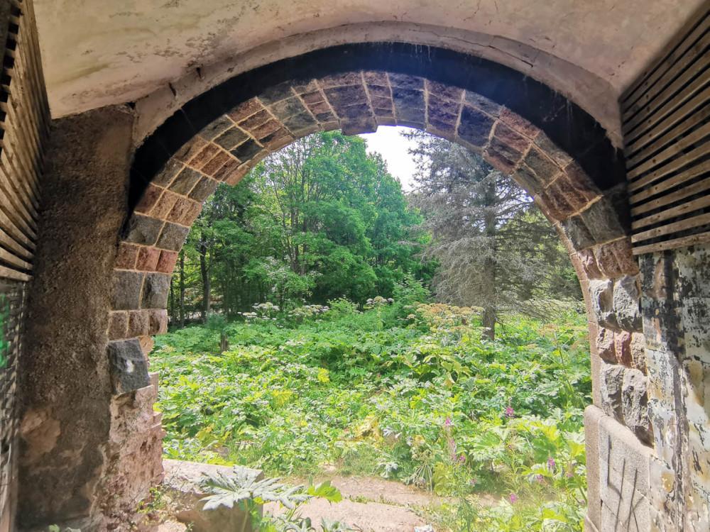 Вид через арку на заросшую борщевиком территорию усадьбы.