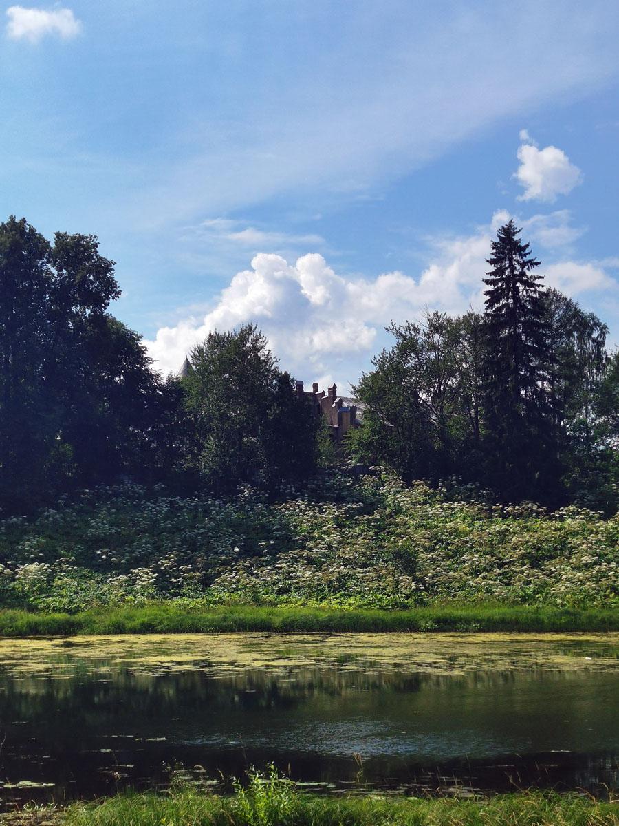 А так замок виден с противоположенного берега реки Оредеж.