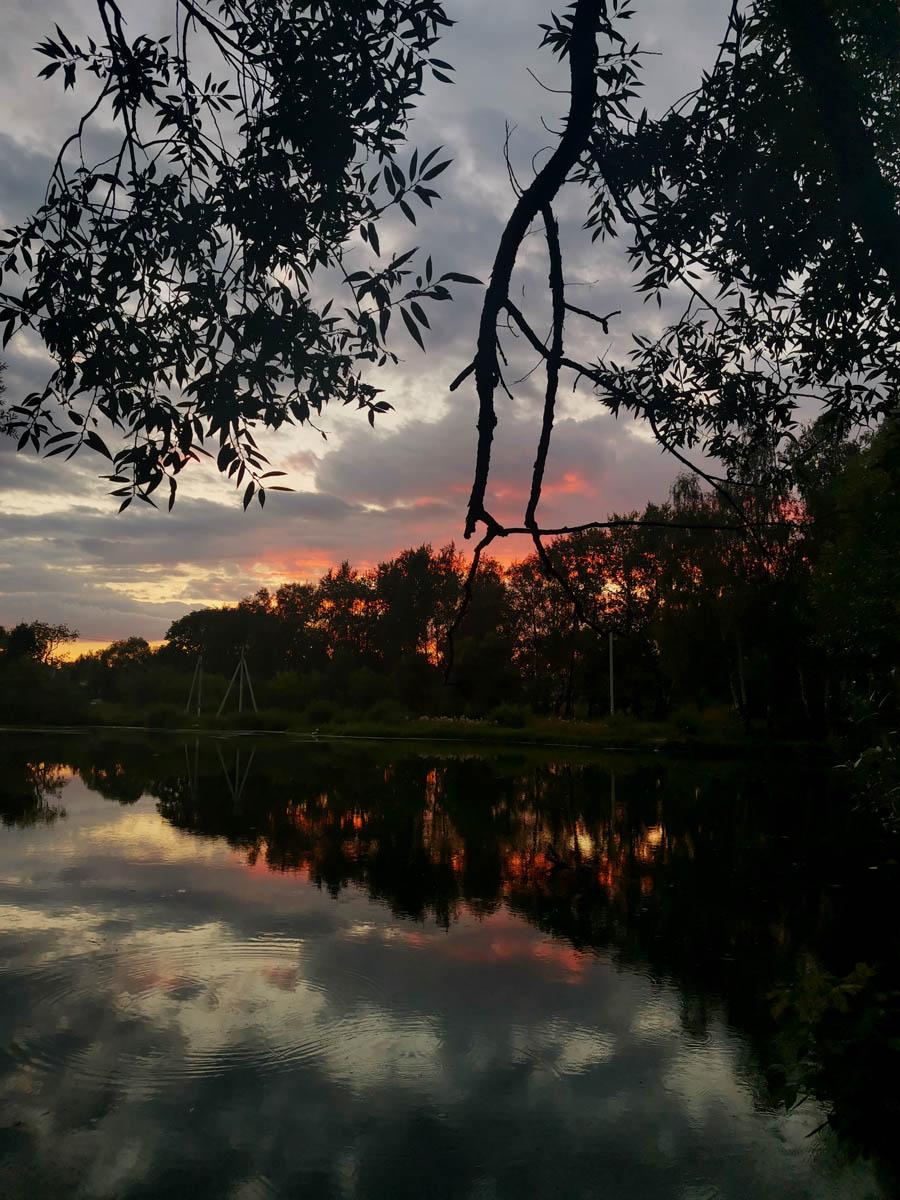 Вечернее небо отражается в водной глади...