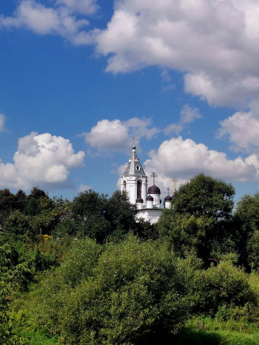 За деревьями видны купола Храма Воскресения Словущего в Битягове на фоте синего неба...