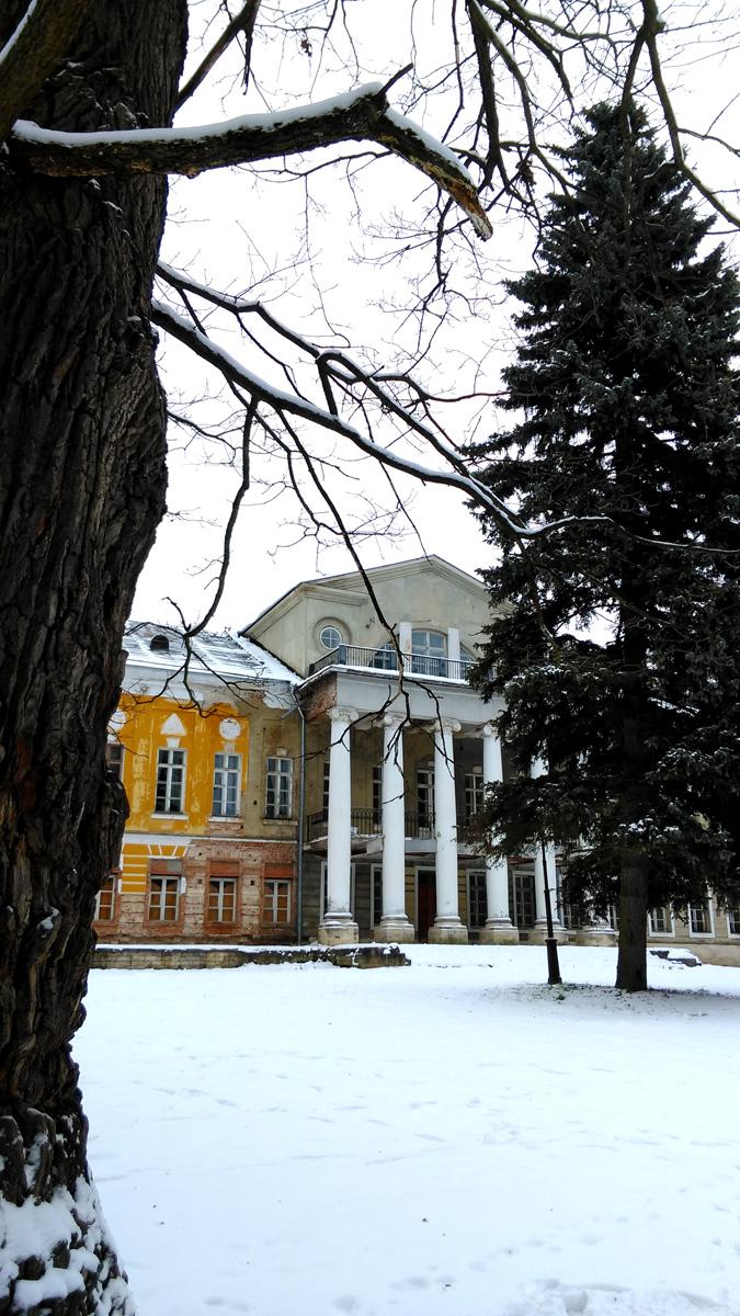Но и в таком виде здание производит сильное впечатление, особенно в купе с величественными деревьями парка.