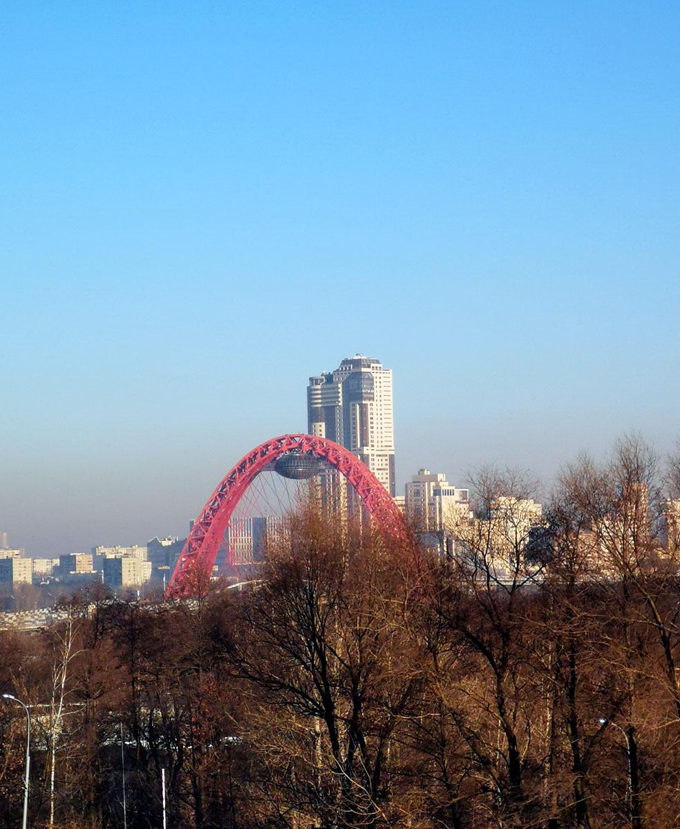 Живописный мост через реку Москву.