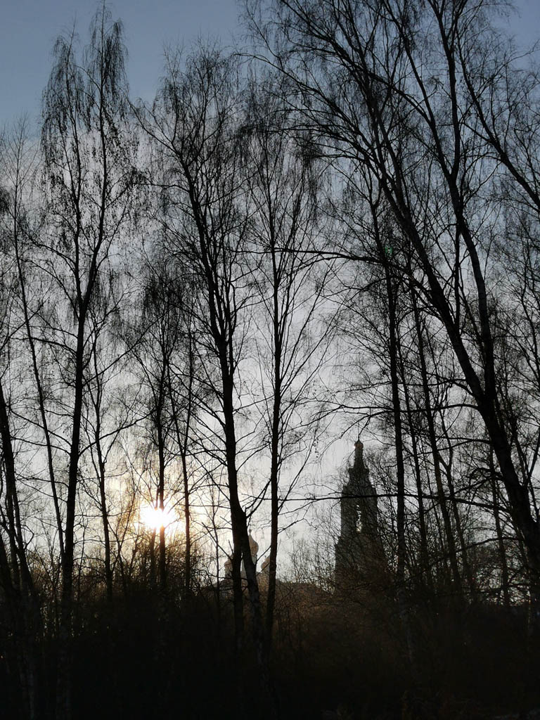 За деревьями показался силуэт колокольни Храма Рождества Пресвятой Богородицы в Крылатском.