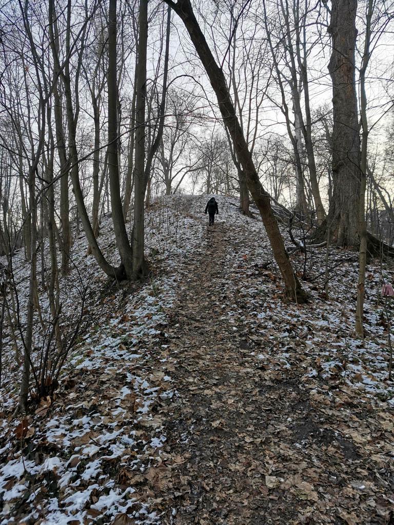 По узкому хребту поднимаемся на холм к Кунцевскому городищу.