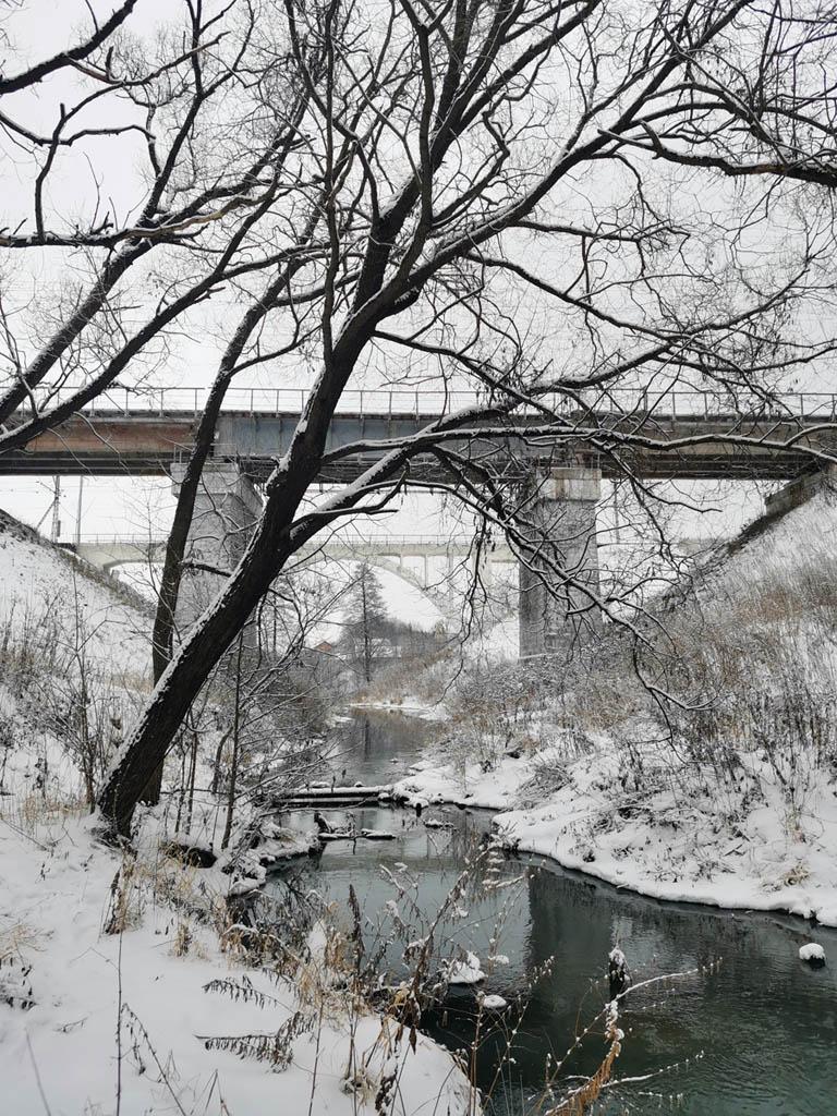Два железнодорожных моста и река Северка...