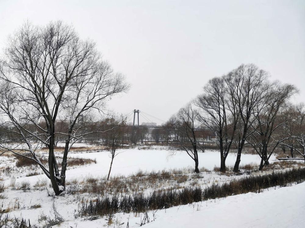 Вид от парка на мост и замерзшее Круглое озеро.