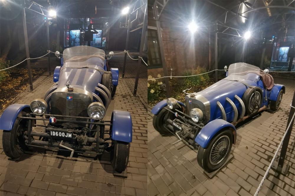Во дворе под навесом стоит оригинальный автомобиль Bugatti Racer 1927 года, в котором выезжает на сцену главная героиня балета «Айседора»