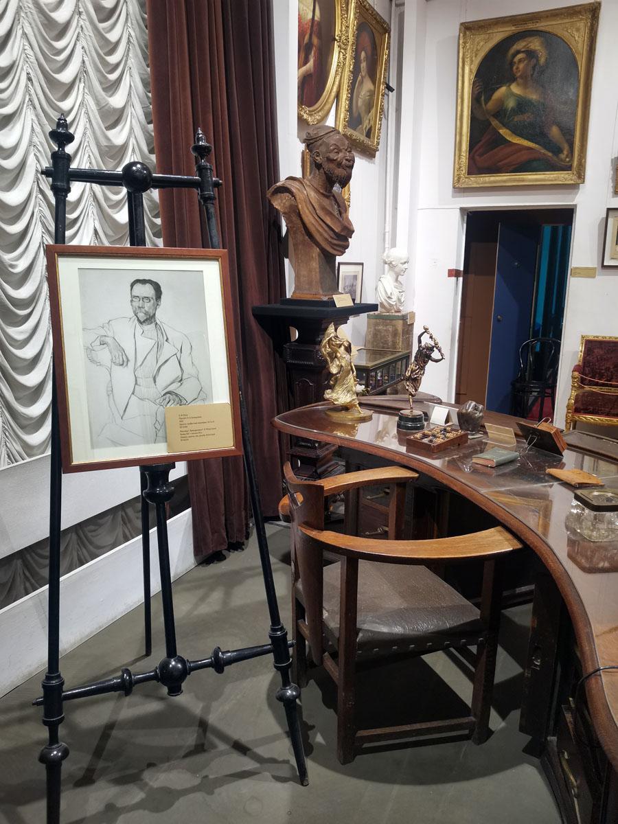 К.Юон. Портрет А.А.Бахрушина. 1920. Бумага, карандаш.