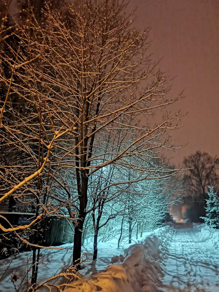 Снова вечер и снова весенний снегопад укутал кроны деревьев...