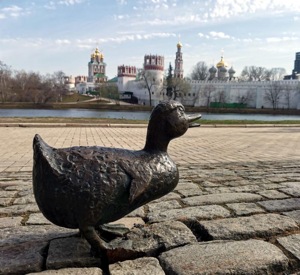 Один из утят скульптурной группы «Дорогу утятам» на фоне Новодевичьего монастыря
