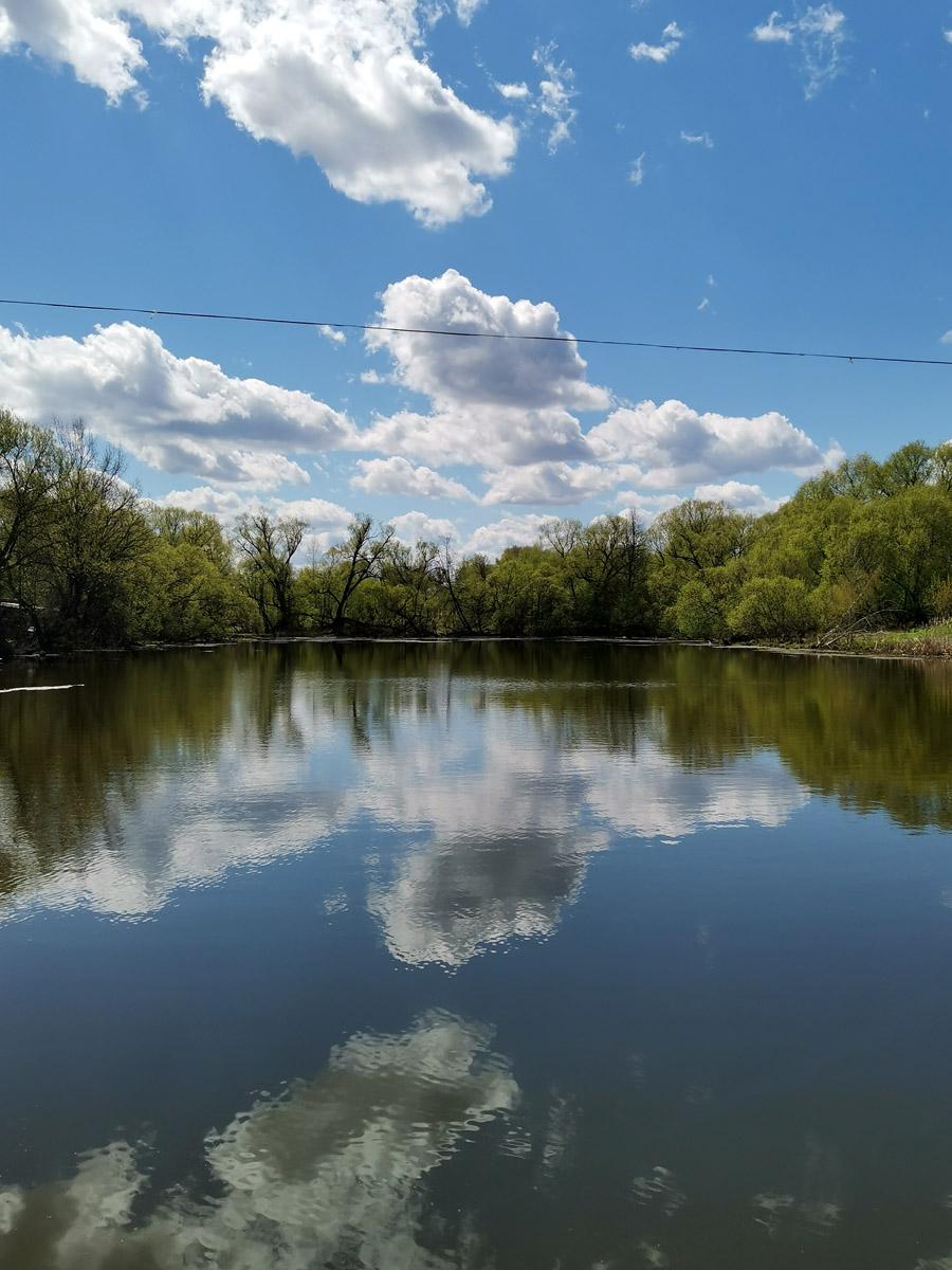 Усадебные каскадные пруды. Сам я не рыбак, но говорят, здесь водится карась...