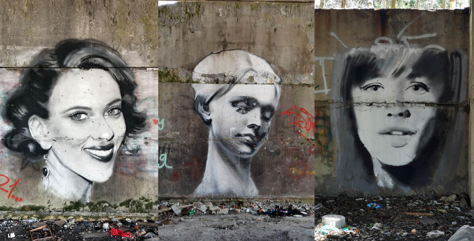 Среди этого дестроя и мусора на стенах прекрасные портреты. Их было больше, но к сожалению их частично или полностью закрасили похабными надписями и картинками. Увы, есть люди, которые сами ничего из себя не представляют и при этом очень сильно завидуют другим людям, не обделенных талантом и умением. И уничтожая произведения искусства они видимо так самоутверждаются. Ущербные людишки!