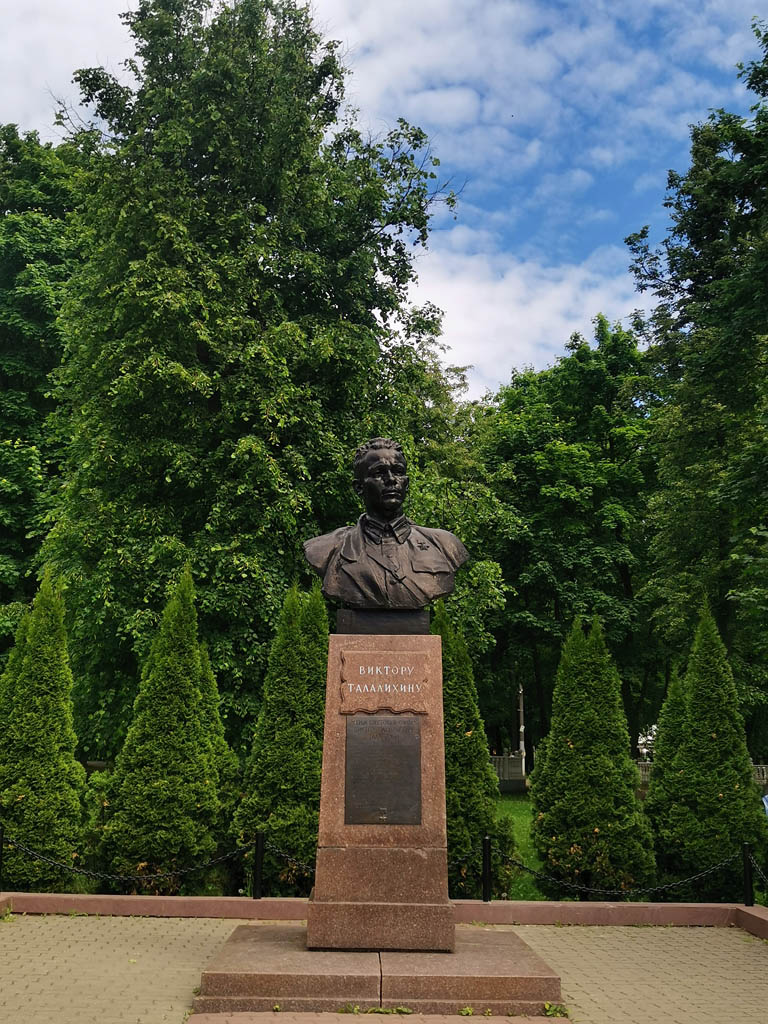 Памятник-бюст летчику Виктору Талалихину в городском парке культуры и отдыха его имени. Сооружен в 1959 г. на средства, заработанные комсомольцами.