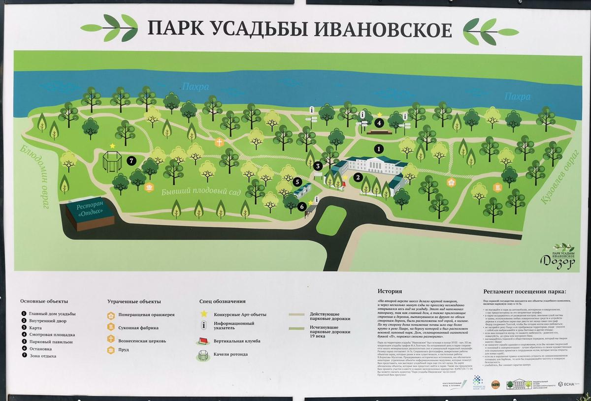 Схема современной территории усадьбы Ивановское.