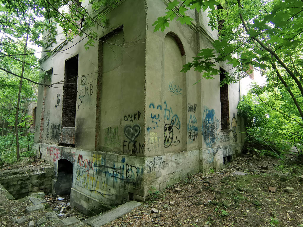 Западная часть оранжереи и вход в подвал.