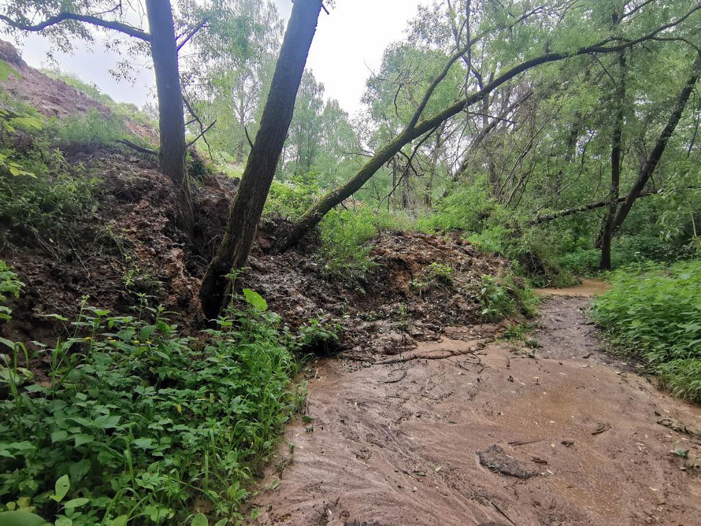 Идем дальше вверх по течению.. Проходим автомобильный мост, соединяющий восточную и западную части села Никитское, и почти сразу нас встречает препятствие в виде слоя мягкой глины поверх тропинки.