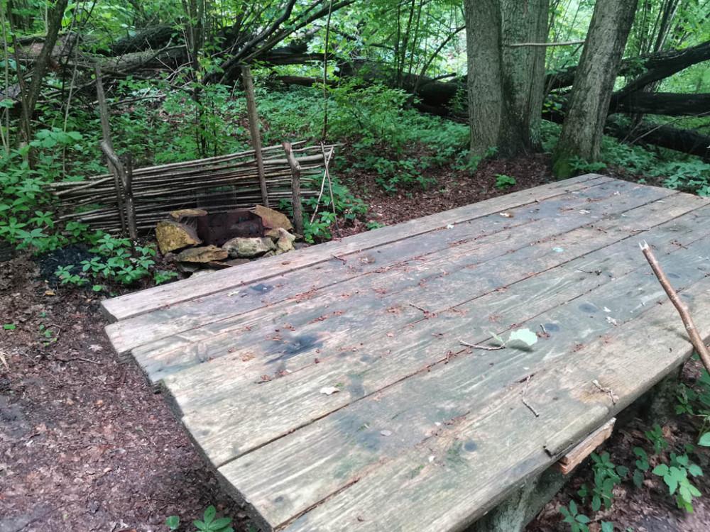Здесь расположен полноценный стол и сложенный из камней очаг. Все очень цивильно и комфортно, кроме тучи комаров.