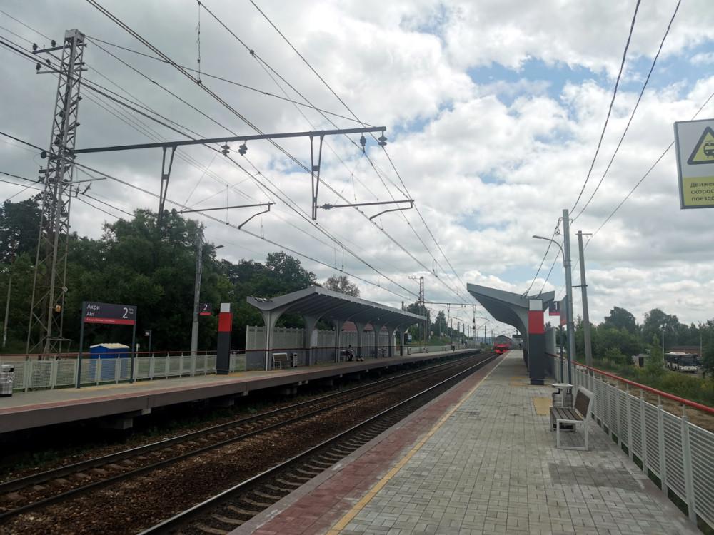 Железнодорожная станция АКРИ открыта в 1932 г.  Расположена в городе Ступино. Названа по аббревиатуре «Акционерной Компании Российской Империи», созданной для строительства Павелецкой железной дороги. Поэтому, название Акри, которое сейчас на табло, не совсем верно, надо АКРИ. Платформа потеряла статус станции в 1990-х гг. Состоит из двух боковых высоких платформ, соединенных настилом через пути. Имеется одна билетная касса. Время движения от Москвы 1 ч. 43 мин. – 2 ч.2 мин.