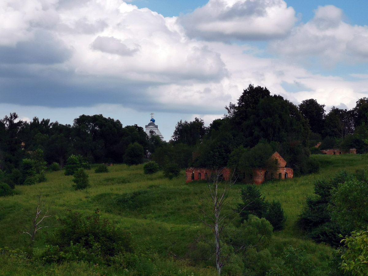 А за глубоким оврагом и сильно обмелевшим прудом виднеются усадебные постройки.
