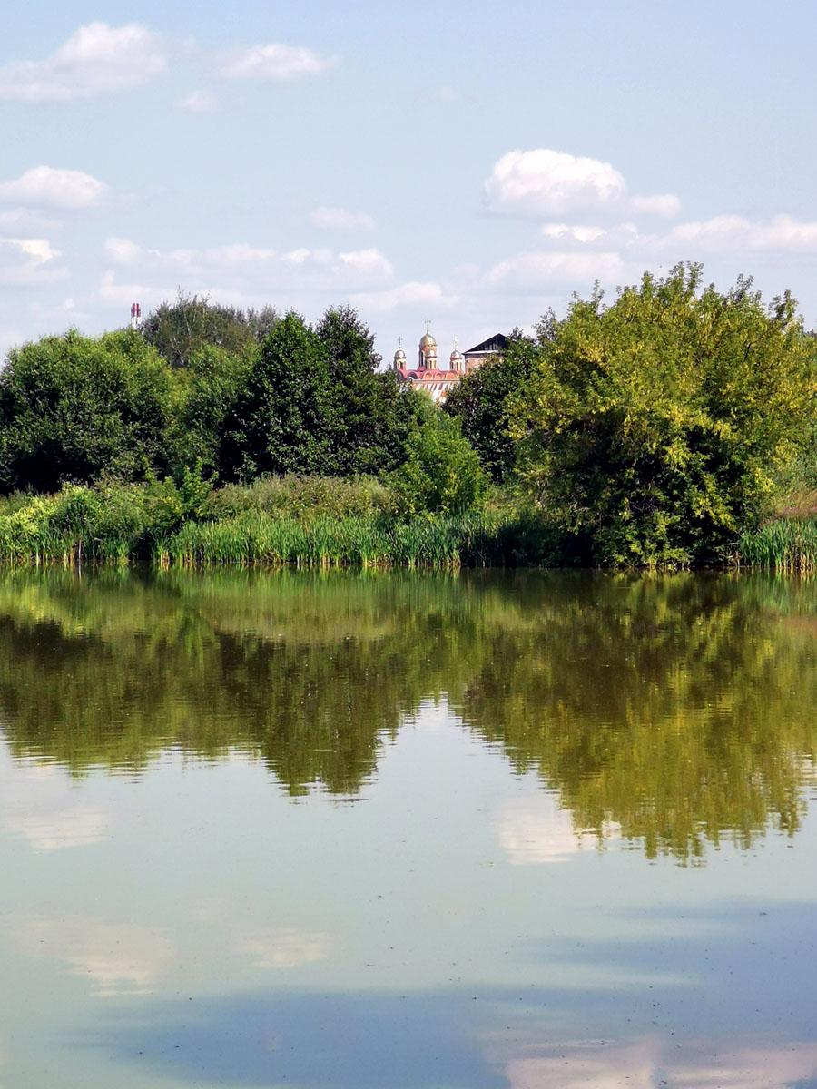 Собор Всех святых в земле Российской просиявших в городе Домодедово тоже виден за деревьями