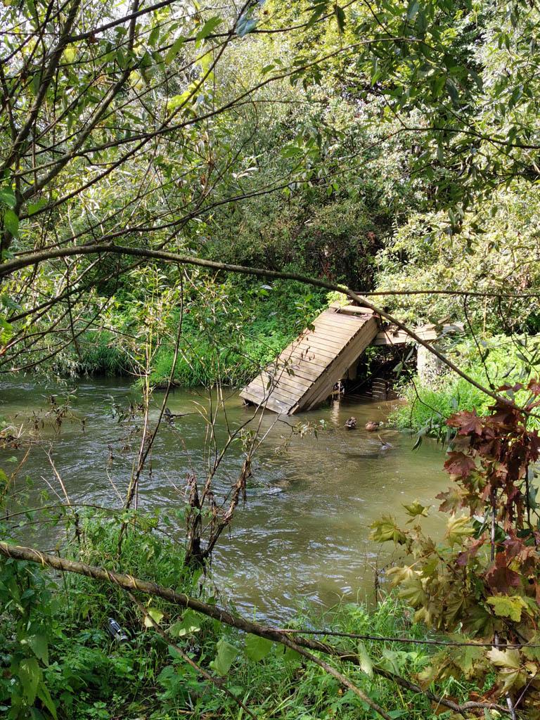 Пешеходный мост через реку Битца. Точнее его руины.