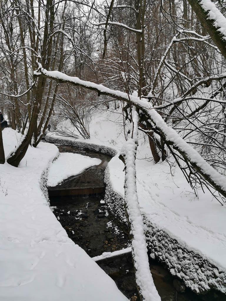 Русло ручья частично отделано булыжниками.