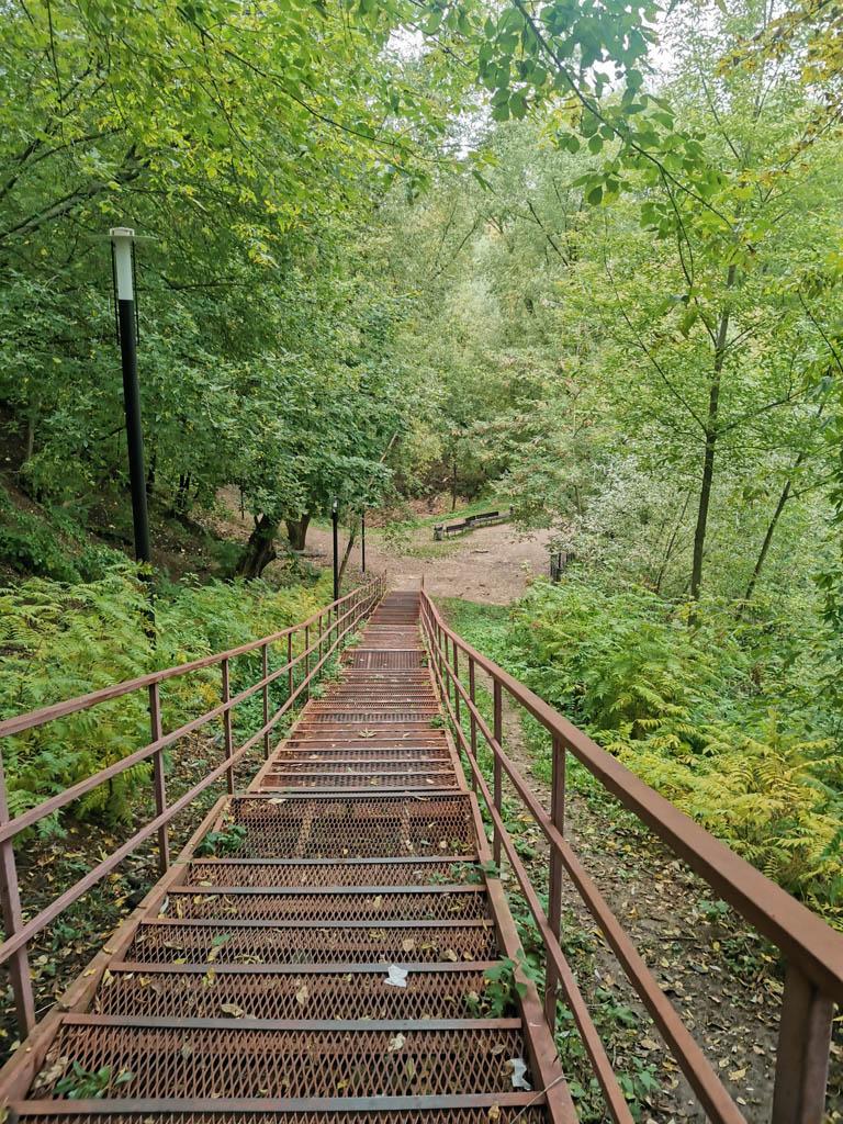 Длинная железная лестница. Некоторые ступени прогибаются под моим весом..
