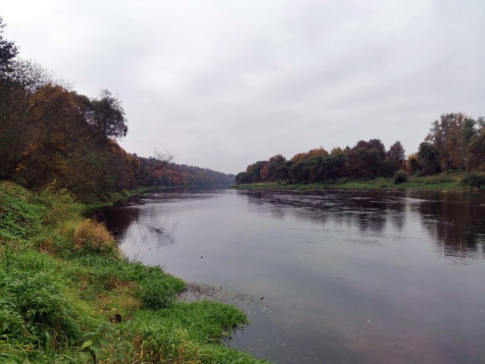 Примерно через 2.5км вышли на берег Москвы-реки... Река в этом месте очень неглубокая...