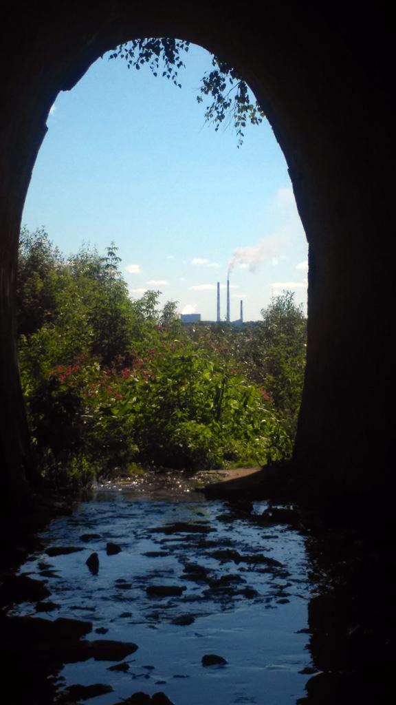 Спустился по крутому склону и обнаружил, что можно было пройти по тоннелю под насыпью. Глубина ручейка вполне это позволяет. Не удержался и зашел сделать несколько фотографий. На этой видны 250-метровые трубы Каширской ГРЭС-4.